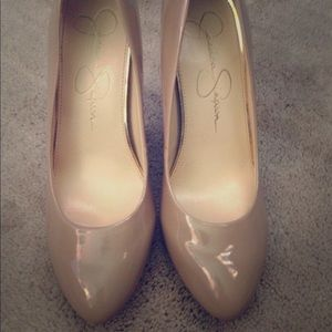 Nude patent leather Jessica Simpson heels